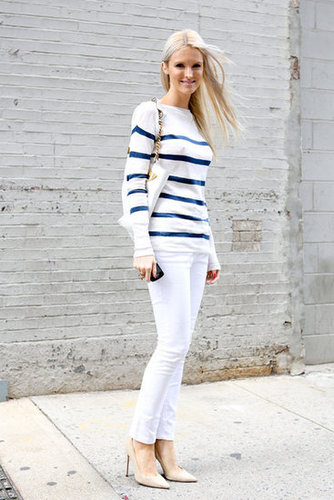 Classic striping and white skinnies have both polish and ease.