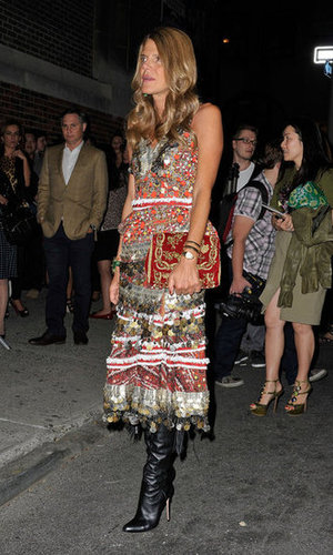 Anna Dello Russo wowed in a global-inspired statement dress by Altuzarra outside the Marc Jacobs show.