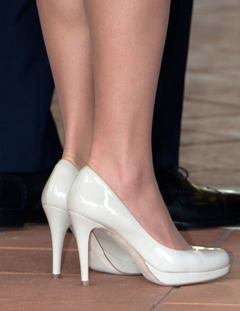 A close-up of her go-to nude L.K. Bennett pumps.