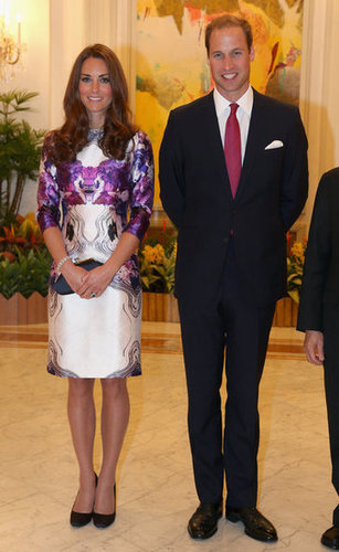 We can't get enough of this! Kate Middleton chose a purple-and-cream Rorschach floral-print dress by Prabal Gurung as part of their Diamond Jubilee tour in Asia. To finish the look, she wore black Prada pumps and toted a black clutch.