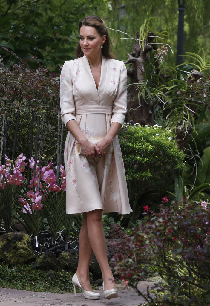 The Duchess co-ordinated her dress with L.K. Bennett nude pumps.