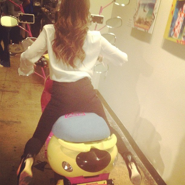 Victoria Beckham tried out a new form of transportation. Source: Instagram user victoriabeckham