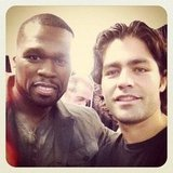 50 Cent crossed paths and snapped a photo with pal Adrian Grenier. Source: Instagram user adriangrenier