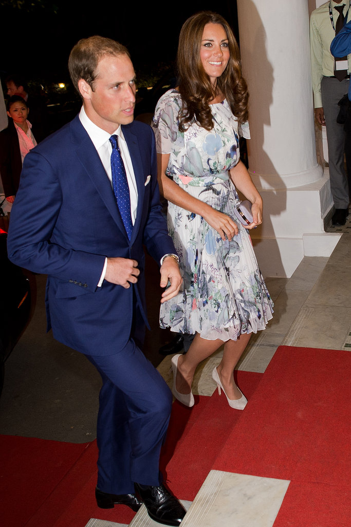 She stepped out in a pretty floral-printed Erdem dress and suede pumps for the couple's evening affairs.