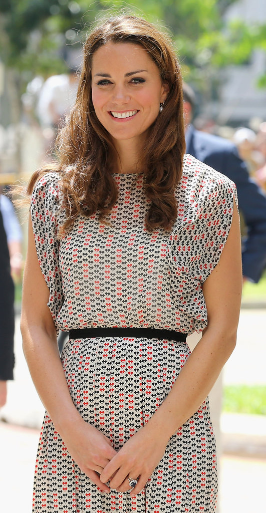On Wednesday Sept. 12, Kate wore printed silk separates by Singaporean label RAOUL.