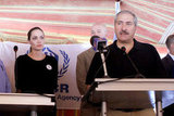 Angelina Jolie at the press conference at camp Zaatari.
