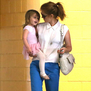 Isla Fisher Wearing Blue Khakis