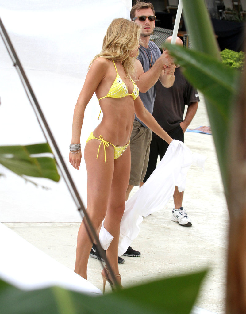 Doutzen Kroes prepared for a photo shoot in Miami.