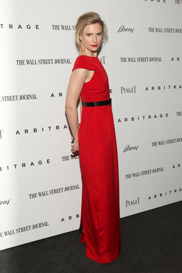 Brit Marling looked elegant in a bright red gown for the Arbitrage premiere in NYC.