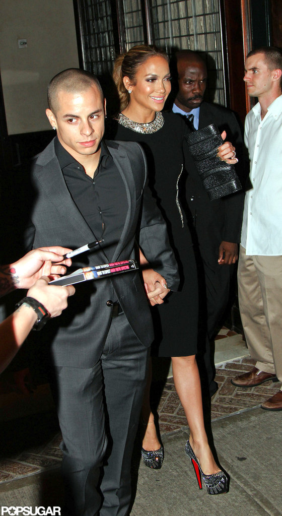 Jennifer Lopez wore a black dress and studded heels for dinner with Casper Smart.