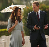 Kate Middleton held a parasol alongside Prince William.