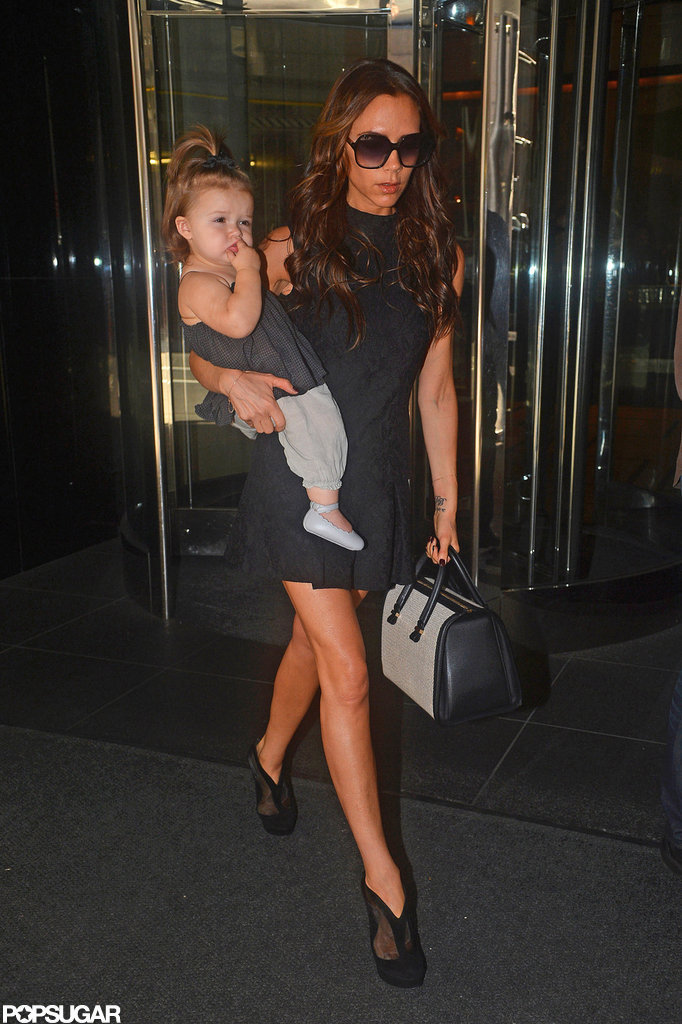 Victoria Beckham and Harper Beckham looked stylish.