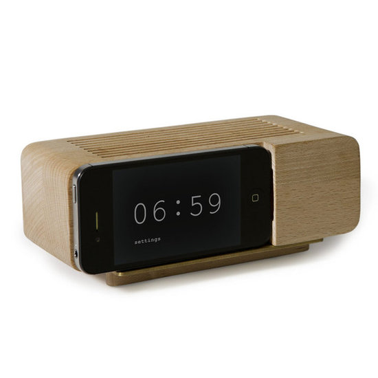Fans of the iPhone can dock their cells on the Areaware Alarm Dock ($40) for a retro, minimalist look.