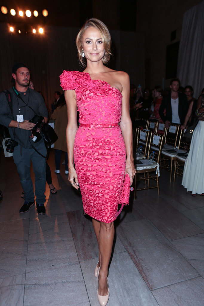 Stacy Keibler was stunning in a one-shouldered Marchesa sheath at the designer's Spring show in New York.