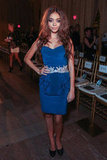 Sarah Hyland elected an electric-blue strapless for the Marchesa show.