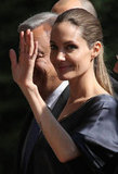 Angelina Jolie waved.