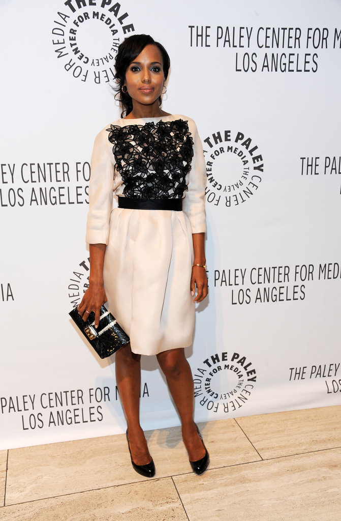 Kerry Washington looked lovely at the PaleyFest preview in a white Christian Dior dress, made extra special with the addition of black floral applique.