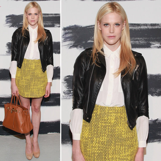 It's actress and model Byrdie Bell's job to look good in front of the cameras, and she didn't disappoint when she styled a yellow tweed Alice + Olivia miniskirt with a black leather jacket during NYFW. You can shop her exact skirt right here.