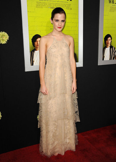 Emma Watson looked perfectly ethereal in Giorgio Armani's tiered confection at the Hollywood premiere of The Perks of Being a Wallflower.
