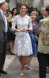 On Friday Sept. 14, Kate wore a blue and white lace Alice Temperley dress to a tea party at the British High Commission in Kuala Lumpur.