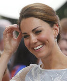 The Duchess donned drop earrings.