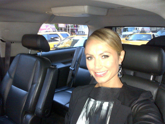 Stacy Keibler snapped a photo of herself on the way to the Vera Wang show. Source: Twitter user StacyKeibler