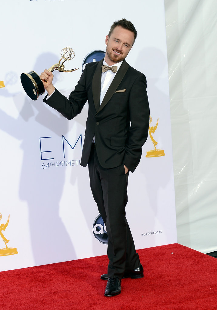 Aaron Paul held up his Emmy for Breaking Bad.