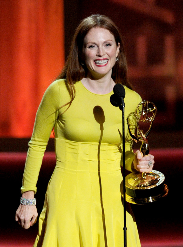 Actress Julianne Moore accepted the Emmy for her starring role as Sarah Palin in Game Change.