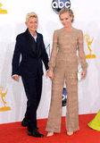 Presenter Ellen DeGeneres posed for pictures with her wife, actress Portia de Rossi.