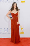 2 Broke Girls star Kat Dennings was a lady in red at the Emmys.