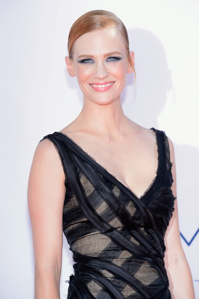January Jones wore a black Zac Posen gown to the Emmy Awards.
