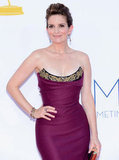 Tina Fey Brings a Pop of Purple to the Emmys Red Carpet