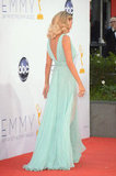 Heidi Klum wore a sheer dress to the Emmy Awards.