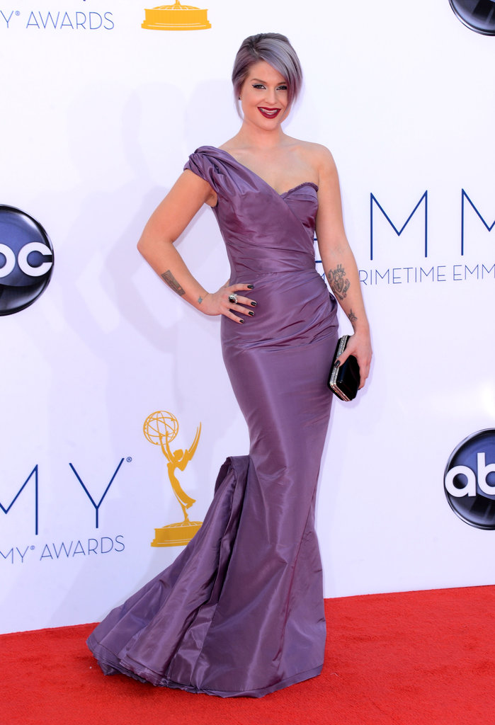 Kelly Osbourne wore a purple Zac Posen gown at the 2012 Emmys.