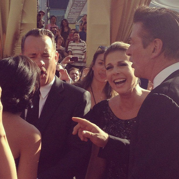 Alec Baldwin, Tom Hanks, and Rita Wilson shared some laughs before the show. Source: Instagram user entertainment_weekly