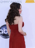 Kat Dennings rocked a red J Mendel dress.