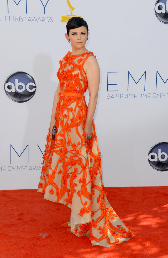 Ginnifer Goodwin lit up the carpet in orange.