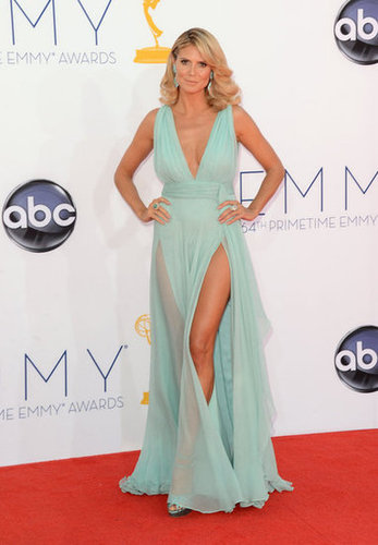 Heidi Klum matched showed off her legs in a sheer Alexandre Vauthier gown.
