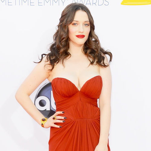 Pictures of Kat Dennings in Red J Mendel Dress on the red carpet at the 2012 Emmy Awards