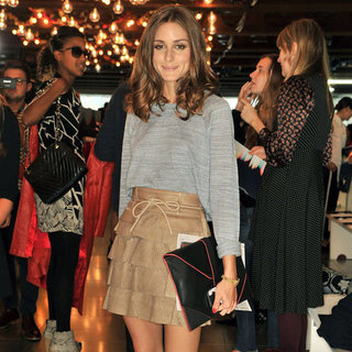 Olivia Palermo Wearing Ruffled Leather Skirt