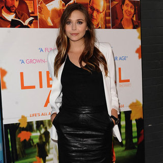 Elizabeth Olsen Wearing Leather Pencil Skirt