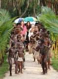Kate Middleton and Prince William were welcomed to Tuvanipupu.
