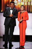 Eva Longoria wore a bright orange gown to take the stage with George Lopez at the ALMA Awards in LA.