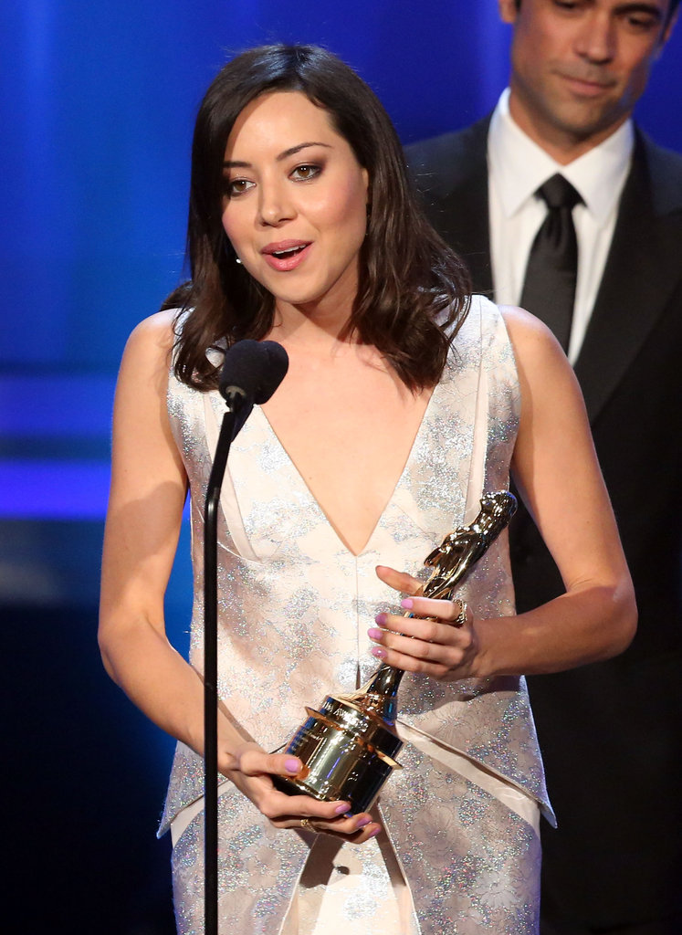 Aubrey PLaza accepted her award at at the ALMA Awards in LA.