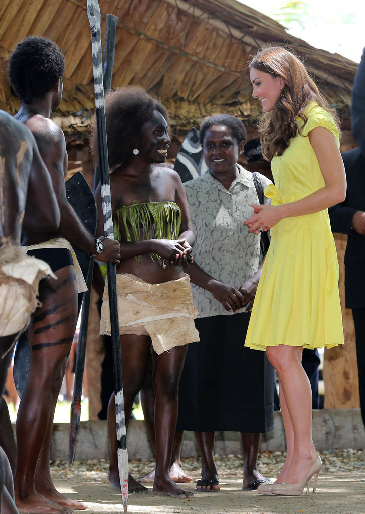 Kate Middleton met with women who work in local public service at the Leaf House in Solomon Islands.