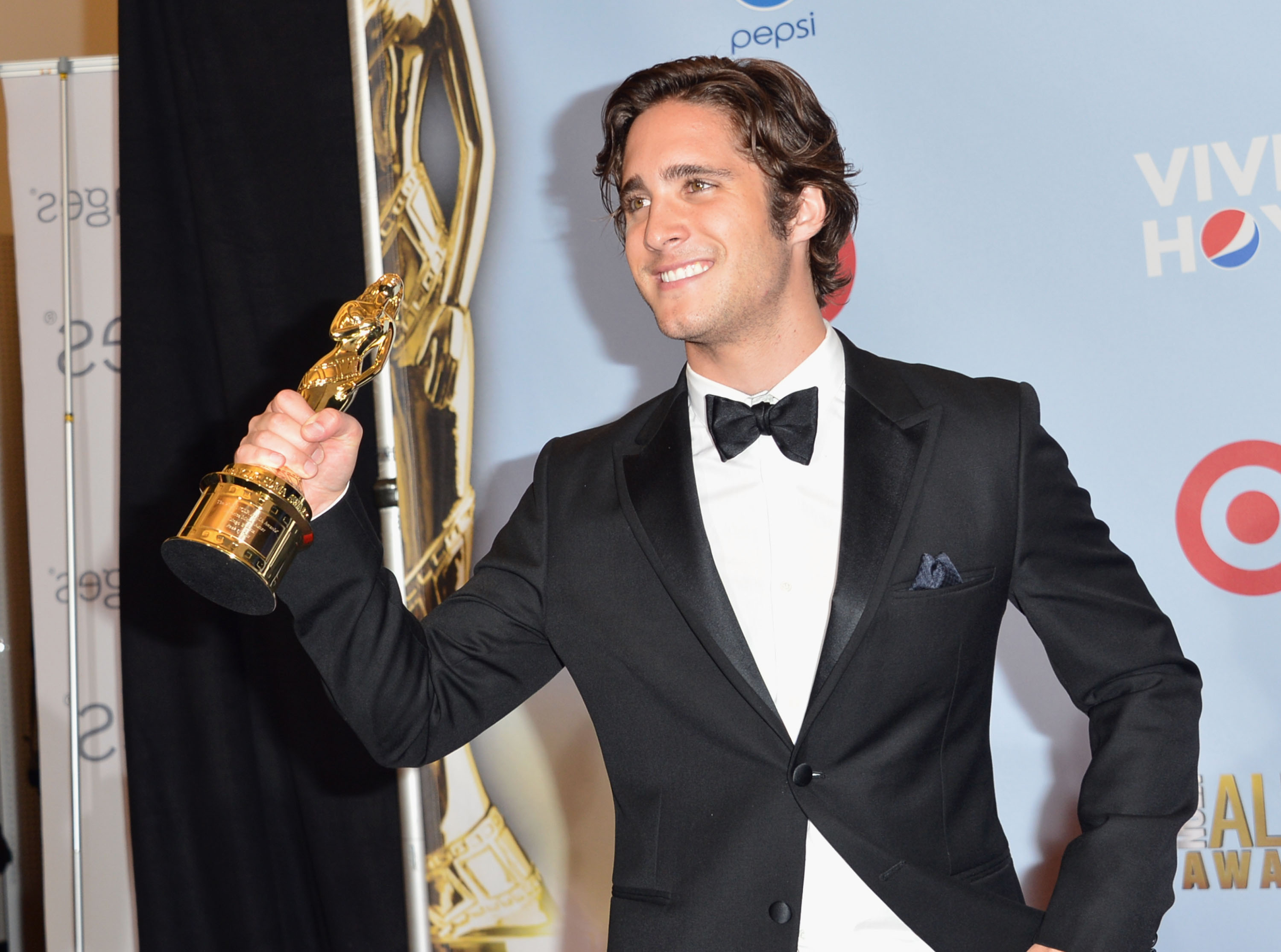 Diego Boneta showed off his award at the ALMA Awards in LA.