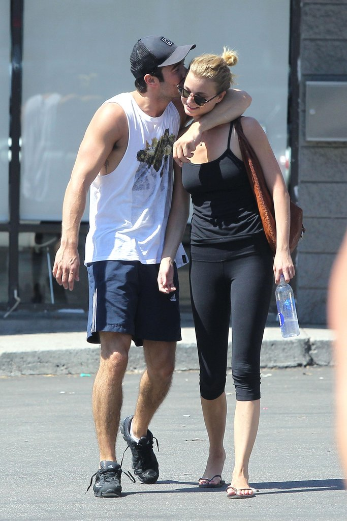 Emily VanCamp and Josh Bowman shared a cute moment as they left the gym.