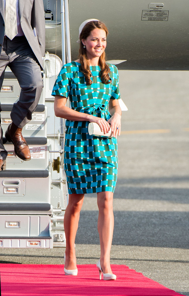 She chose a turquoise and green geometric-print Jonathan Saunders sheath — with her L.K. Bennett pumps — for day six of the Diamond Jubilee tour.