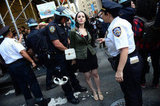 A female Occupy Wall Street protestor was handcuffed in New York City.