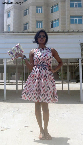 retro style printed 50's dress
